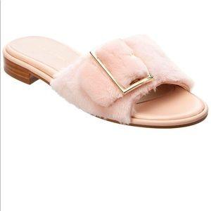 STUART WEITZMAN fuzzy wiz slide slipper